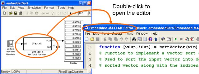 Opening an Embedded MATLAB Block.